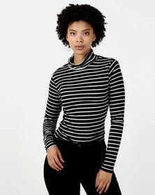 Legit Long Sleeve Fitted Stripe Poloneck Black/White