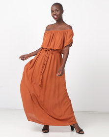 Legit Bardot Woven Maxi Dress Rust