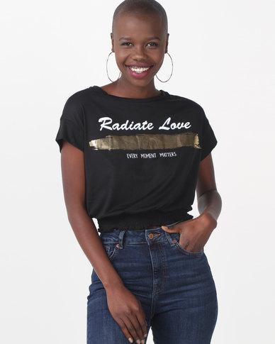 Legit Radiate Love Shirred Hem Tee Black