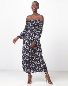 Legit Bardot Shirred Flare Sleeve Midi Floral Dress Navy Floral