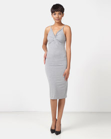 Legit Sleeveless Tube Dress With Twist Front Grey Melange