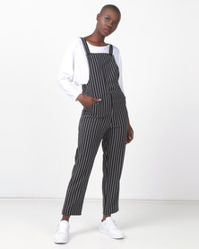 Legit Pinafore Stripe Jumpsuit Black/ White