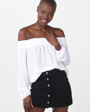 499d2845f81 Legit Off The Shoulder Shirred Band Tie Sleeve White