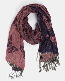 Queenspark Butterfly Jacquard Scarf Red