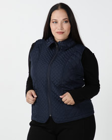 Queenspark Plus New Fancy Gilet Woven Jacket Navy