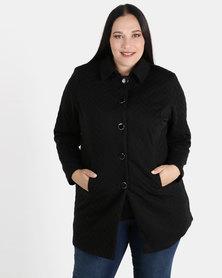 Queenspark Plus Zigzag Button Knit Coat Black