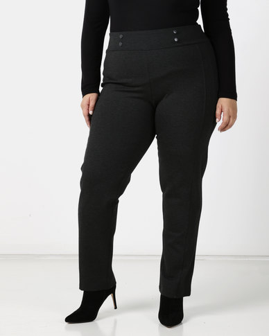 Queenspark Plus Tonal Button & Seam Detail Ponte Knit Pants Charcoal