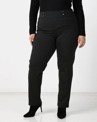 Queenspark Plus Tonal Button & Seam Detail Ponte Knit Pants Charcoal