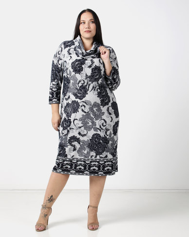Queenspark Plus Border Printed Cashmilion Knit Dress & Snood Navy