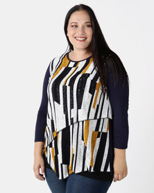 Queenspark Plus 3/4 Sleeve Layered Knit Top Multi