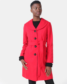 Miss Cassidy By Queenspark Sleepless In Seattle Woven Coat Red