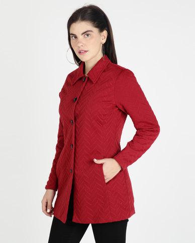 Queenspark Zigzag Knit Coat Red