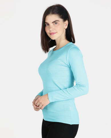 Queenspark Ottoman Core Knitwear Jersey Aqua