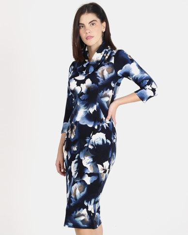 Queenspark Floral Cashmilon Knit Shift Dress Navy