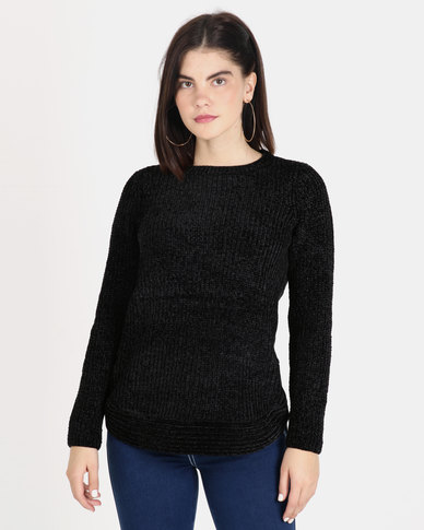 Queenspark Chenille Long Sleeve Crewneck Knitwear Black