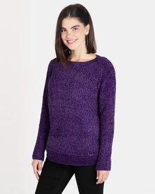 Queenspark Chenille Long Sleeve Crewneck Knitwear Purple