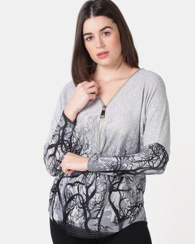 Queenspark Border Printed Zip Detail Knit Top Grey