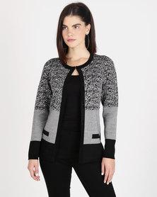 Queenspark Colourblock Bejewelled Knitwear Cardigan Black & white