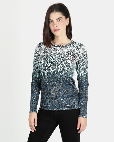Queenspark Aqua Printed Knitwear Top Aqua
