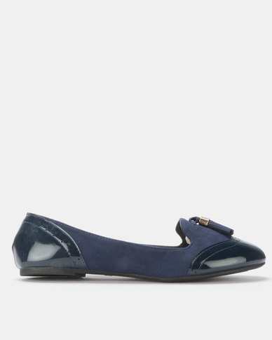 Legit Multi-Fabric Loafer with Brogue and Tassel Detail Navy
