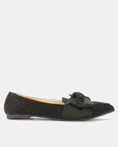 Pointed Loafer with Satin Bow Overlay Black