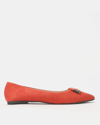 Legit Pointy Pumps with Square Gold Trim Rust