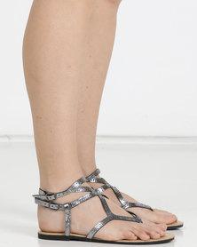 Legit Embellished High Ankle Strap Thongs Pewter