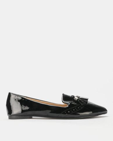 Legit Patent Brogue Loafer with Tassel Detail Black