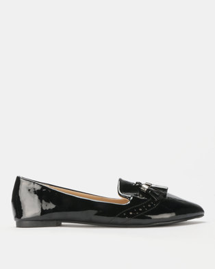 049e9ced7b7a Legit Patent Brogue Loafer with Tassel Detail Black