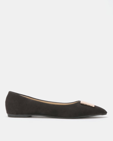 Pointed Multi-Fabric Pointed Pump with Flat Gold Black