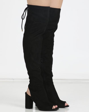 9e2549a3fd24 Legit Microfiber Peeptoe Open Heel Long Boots Black