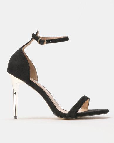Legit Metal Stiletto Heels Thin Vamp Strap Black