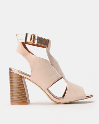 Legit Block Heel Cage Sandals with Contrast Ankle Strap Blush