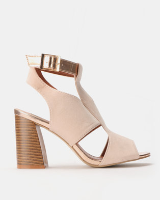 ef098cff5a36 Legit Block Heel Cage Sandals with Contrast Ankle Strap Blush