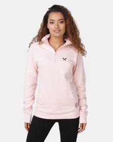 Lizzy Manon 3/4 Zip Pullover Sweatshirt Pink