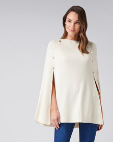 Forever New Felicity Knitted Button Poncho Cream
