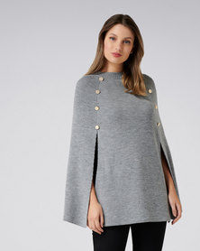 Forever New Felicity Knitted Button Poncho Grey