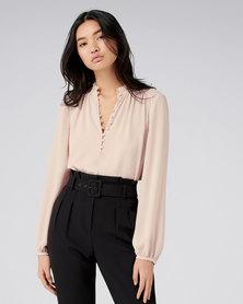 Forever New Jayde open placket blouse Rose Smoke