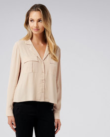 Forever New Josephine button front pocket shirt Nude Shimmer