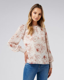 Forever New Sabrina smocked yoke detail blouse Blush Floral
