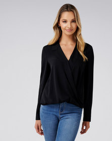 Forever New Clair Camp Collar Wrap Blouse Black