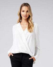 Forever New Clair Camp Collar Wrap Blouse Porcelain
