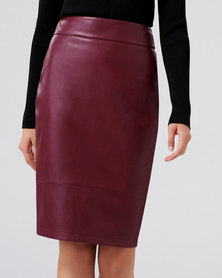 Forever New Amy PU Pencil Skirt Berry