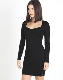 Sissy Boy Sweetheart Neckline Bodycon Dress Black