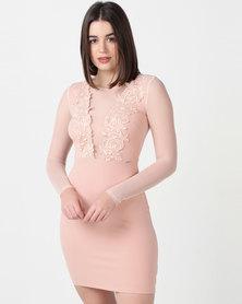 Sissy Boy Sheer Detail Bodycon Dress Pink