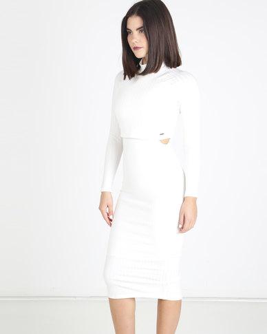 Sissy Boy Poloneck Midi Dress Off White