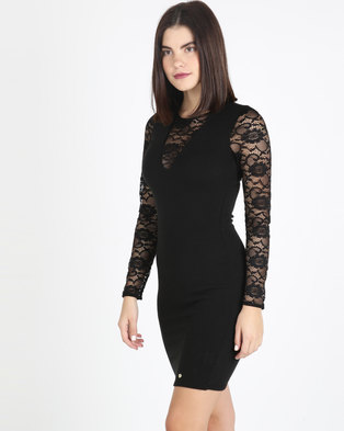 3fad47a941 Sissy Boy Lace Detail Sleeve Bodycon Dress Black