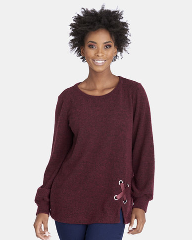 Contempo Fleece Top with Eyelets & Tie Berry