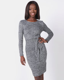Contempo Dress with Waist Knot Tie Grey