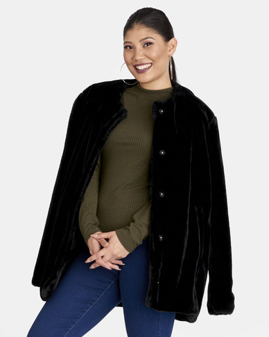 Contempo Faux Fur Coat Black
